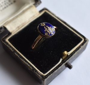 Royal: A Russian gold diamond and enamel ring