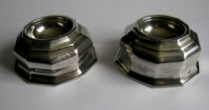 A fine Irish Queen Anne pair of silver salt cellars